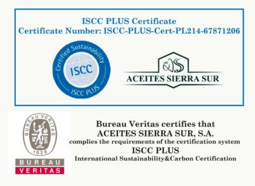 Aceites Sierra Sur obtiene certificación ISCC PLUS en su sección de Biomasa